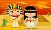 stock photo of chibi  - a man and woman in the egypt - JPG