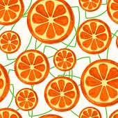 Watercolor Orange Slices With Green Leaves, Seamless Background. Vector Illustration