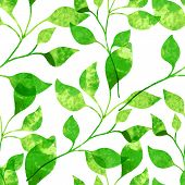 Watercolor Seamless Pattern With Green Leaves. Vector Illustration Background