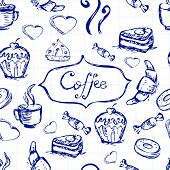 Sketch Seamless Pattern With Coffee And Sweets. Vector Hand-drawn Illustration.