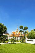 Greensward And Church  Wat Arun