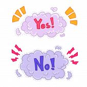Boom, Explosion comic strip, yes Or No. Vector Illustration