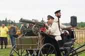 Men On Cart With Maxim Machine Gun
