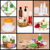 Spa And Body Care Cosmetics And Accessories Collage