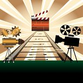 picture of crew cut  - Abstract colorful illustration with two movie projectors - JPG