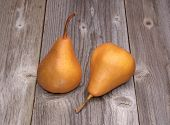 Kaiser pears on wooden background
