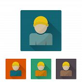 Worker Icon, Flat Design On 4 Color Background