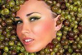 fashion beautiful female face in gooseberry
