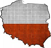 Poland map with flag inside