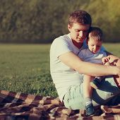 Lifestyle Photo Lovely Father And Son Together Resting Outdoors On Nature, Soft Vintage Colors