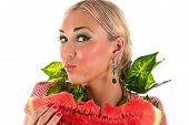 woman eating watermelon surprise