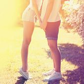 Summer Lifestyle Colorful Photo Young Couple In Love Outdoors