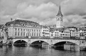 foto of zurich  - Munster bridge over Limmat river in Zurich Switzerland - JPG
