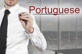 foto of pronunciation  - businessman in office writing portuguese in the air - JPG
