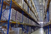 Narrow Aisle Warehouse With Pallet Storage System.