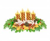 Christmas Decoration Advent Wreath With Pine Cones vector