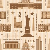 Landmarks of United States of America vector seamless pattern