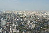 Panorama from an observation platform of hotel Bayok skay (Baiyoke Sky) in Bangkok, Thailand