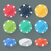 Set Of Colorful Gambling Chips, Casino Tokens Isolated. Flat Style With Long Shadows. Modern Trendy