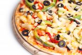 picture of hot fresh pizza  - Hot and tasty pizza on white background - JPG