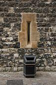 Arrow slit window in castle wall