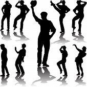 picture of tango  - dance people dancing with hat in different poses silhouette vector - JPG