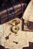 image of treasure map  - treasure chest compass and old map on wooden table - JPG