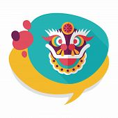 picture of dragon head  - Chinese New Year Flat Icon With Long Shadow - JPG