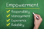 stock photo of experiments  - Empowerment responsibility management experience reliability words on chalkboard - JPG