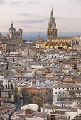 Toledo skyline view at sunset with cathedral. Spain pic.