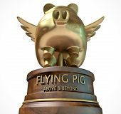 picture of sarcasm  - A gold trophy of a mythical flying pig on top of a wooden base and a description which reads above and beyond on an isolated white studio background - JPG