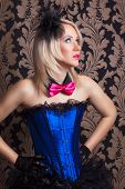 picture of cabaret  - beautiful cabaret woman wearing fascinator bow - JPG