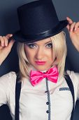 picture of bow tie hair  - beautiful young woman wearing tophat bow - JPG
