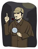 picture of crime solving  - Sherlock Holmes style detective solves the mystery - JPG