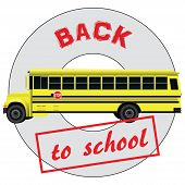 foto of driving school  - Character back to school and the school bus - JPG