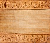 stock photo of hieroglyph  - old egypt hieroglyphs with place for text - JPG