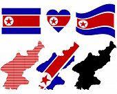 picture of rogue  - map and flag of North Korea symbol on a white background - JPG