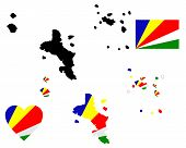 foto of creole  - map flag and symbol of Seychelles on a white background - JPG