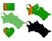foto of turkmenistan  - map flag and symbol of Turkmenistan on a white background - JPG