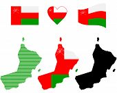 stock photo of oman  - map flag and symbol of Oman on a white background - JPG