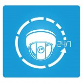stock photo of cctv  - CCTV camera symbol in blue square button - JPG