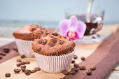 stock photo of chocolate muffin  - two fresh chocolate muffins and cup of coffee in a studio - JPG