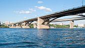 picture of novosibirsk  - bridge across the river in Novosibirsk Ob - JPG