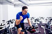stock photo of intensive care  - Spinning Instructor at Gym - JPG