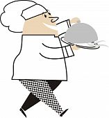Fat Male Chef Walking Dome Food Platter
