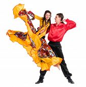 stock photo of gypsy  - Gypsy flamenco dancer couple - JPG