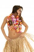 stock photo of hula dancer  - A Hawaiian woman dancing in her grass skirt and coconut bra - JPG