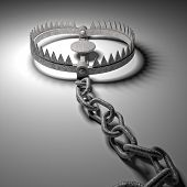 stock photo of trap  - 3d old bear trap on white - JPG