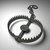 picture of trap  - 3d old bear trap on white - JPG