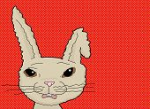 stock photo of bent over  - Scared cartoon rabbit with bent ear over red background - JPG